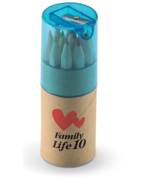 12 creioane colorate în tub personalizate