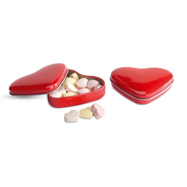 Cutie formă inimă cu bomboane personalizate