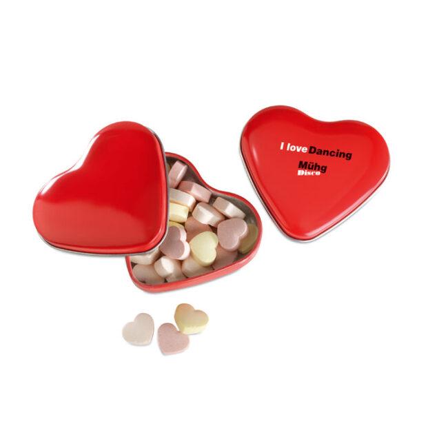 Cutie formă inimă cu bomboane imprimate